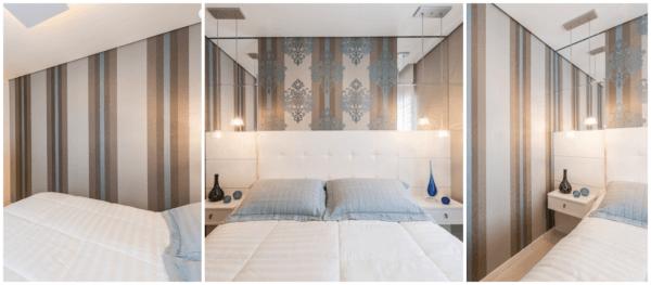 Decoração de quarto de casal pequeno com papel de parede