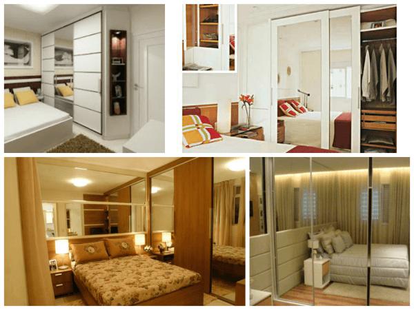 Fotos de decoração de quarto de casal pequeno diferente e simples