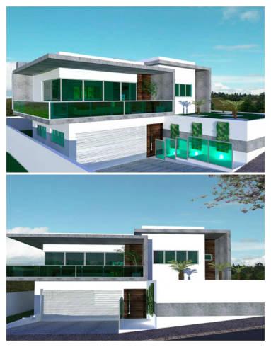 Fachadas de sobrados modernos com vidros e muro