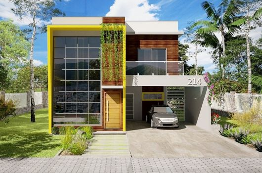 fachada de sobrado com janela ampla na entrada e detalhes amarelos e amadeirados