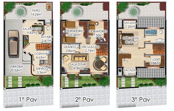 plantas de sobrados modernos de 3 andares