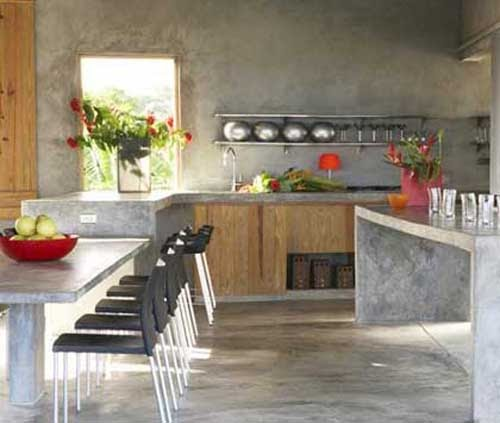 Fotos de Cimento queimado em cozinha gourmet
