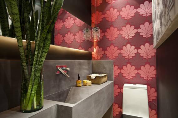 Dicas de decoração de lavabos com papel de parede e contact