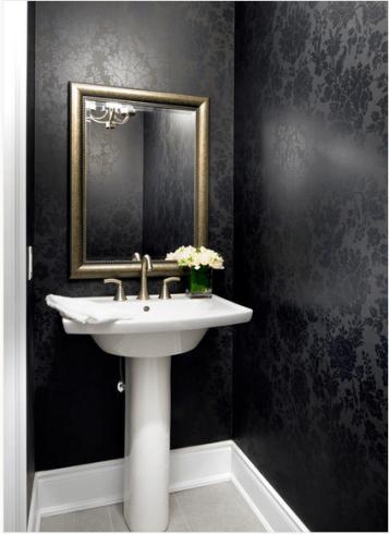Papel de parede preto florido para lavabo - onde comprar