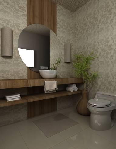 Papel de parede para lavabo clean e neutro