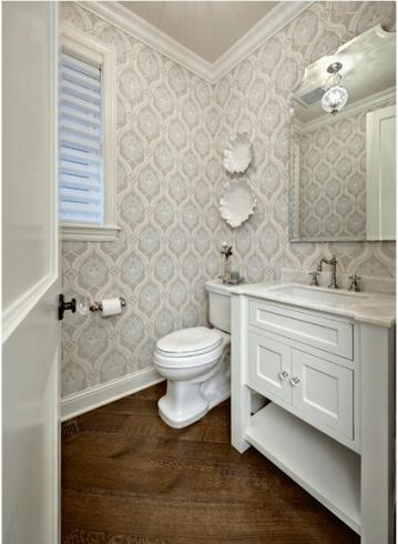 Melhores fotos de lavabos com papel de parede clean