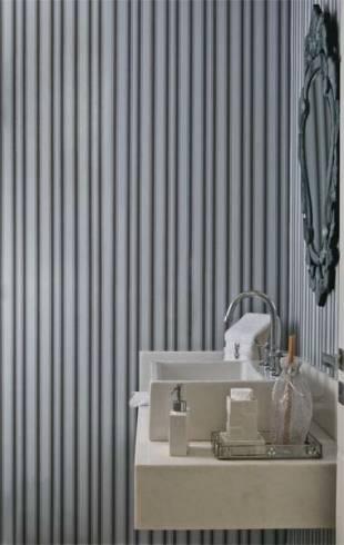 Lavabo com decoração contemporânea - papel de parede