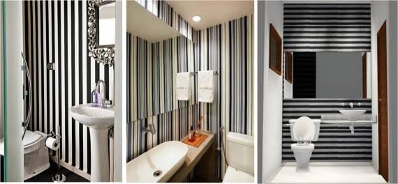 Fotos de lavabos com papel de parede listrado preto e branco