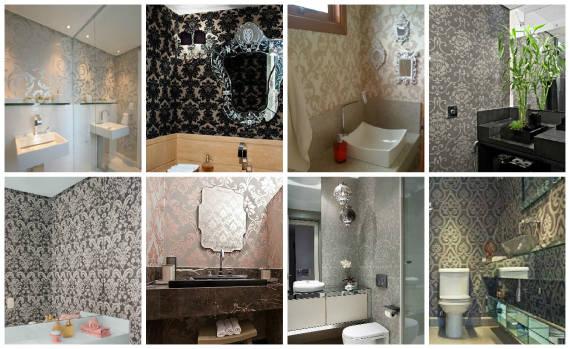Lavabo com papel de parede arabesco e espelho veneziano