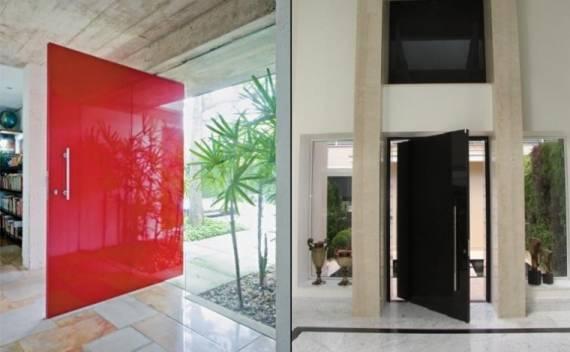 Fotos de portas pivotantes de entrada diferentes