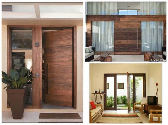 Modelos de porta pivotante de madeira de demolição com vidros