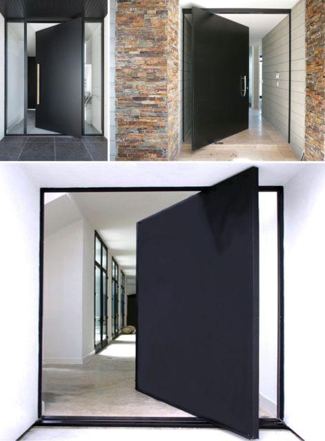 porta pivotante preta quadrada