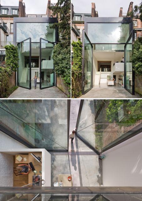 porta pivotante enorme de vidro