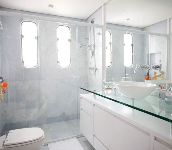 BANCADA PARA BANHEIRO Veja 12 materiais e cores! -> Banheiro Decorado Com Bancada De Vidro