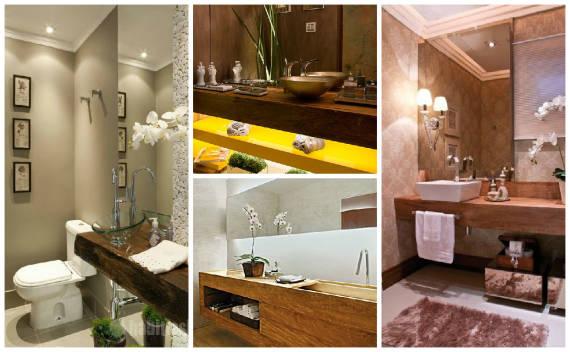 Fotos de bancadas de madeira de demolição para banheiro
