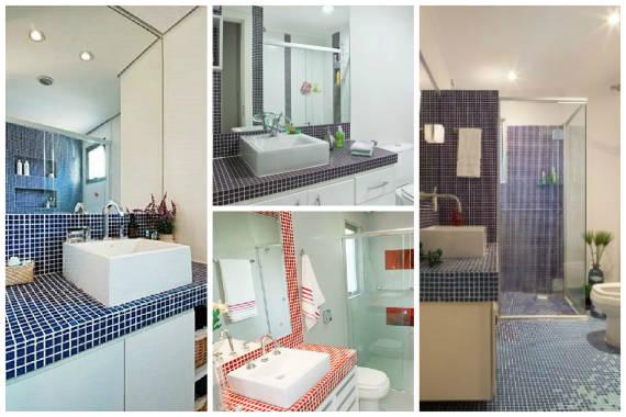 BANCADA PARA BANHEIRO Veja 12 materiais e cores! # Bancada De Banheiro Com Pastilha De Vidro