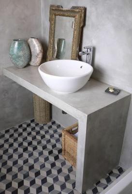 Fotos de bancadas para banheiro de alvenaria e cimento queimado