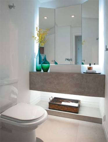Tipos de bancada de cimento queimado para banheiro moderno