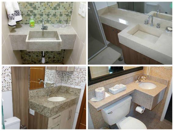 Modelos de cubas e materiais para bancada de banheiro