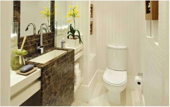 BANCADA PARA BANHEIRO Veja 12 materiais e cores! -> Banheiro Pequeno Marmore