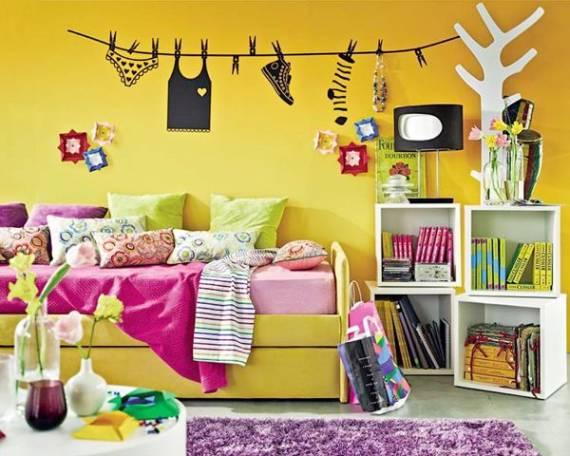 Quarto de menina com parede amarela - fotos