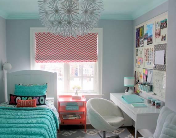 Sugestões de cores alegres para quarto feminino jovem