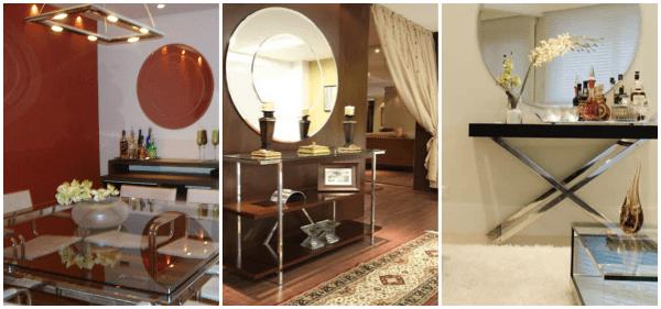 Fotos de decoração com espelhos e aparador na sala