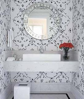 Espelho redondo veneziano para lavabo