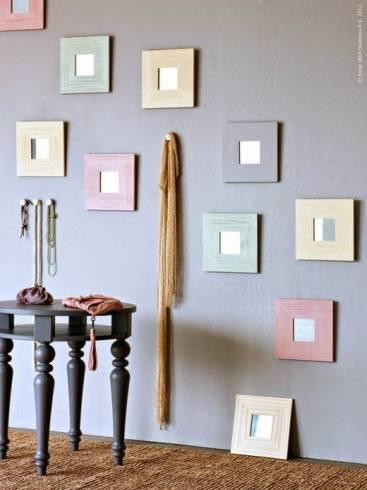Decoração com espelhos coloridos pequenos