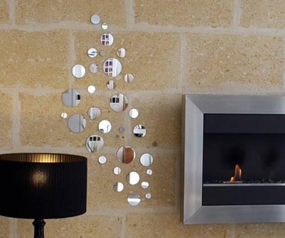 Decoração com espelhos adesivos na sala
