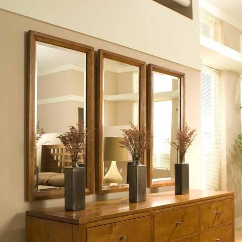 Ideias de Decoração com espelhos com moldura de madeira