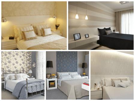 Fotos de quartos de casal simples decorados com papel de parede