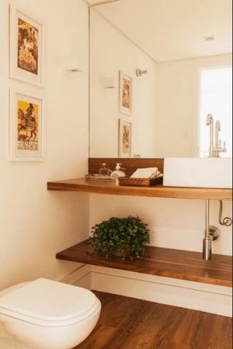 Fotos de lavabos com bancada de madeira