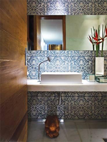 Fotos de lavabos decorados com ladrilho hidráulico