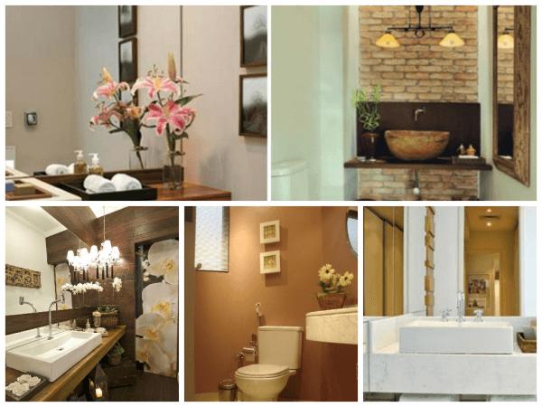 decoração de lavabo com paredes coloridas e revestimentos diferentes