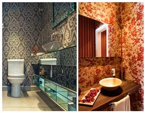 Imagens de lavabos decorados com papel de parede diferente