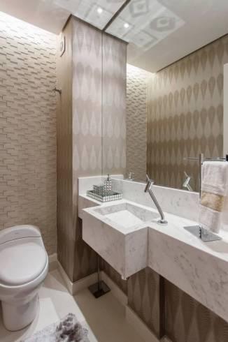 Fotos de lavabos decorados com cuba escavada em mármore