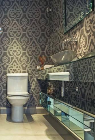 Como decorar lavabos pequenos com papel de parede