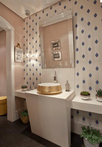 Fotos de decoração de lavabo com pedra branca