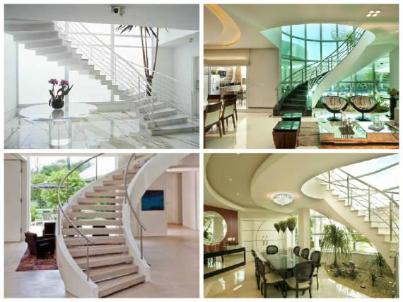 Tipos de escadas circular para sala chique