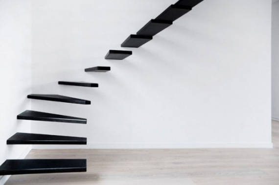Projetos de escadas modernas com degraus flutuantes