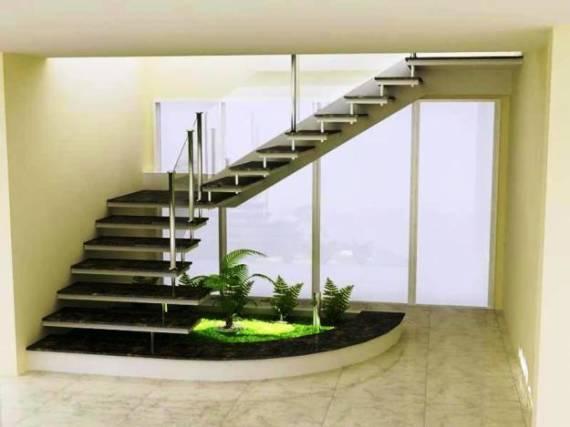 Fotos de casas com escada em L com janela grande
