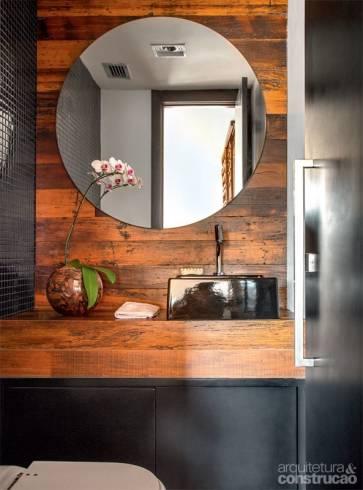 Fotos de banheiros com espelho redondo