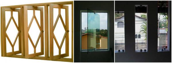 janela modelo vitrô pivotante em madeira e blindex