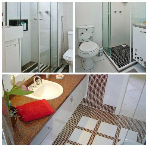 Banheiros com pastilhas de cerâmica no piso