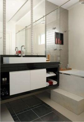 pastilha inox em banheiro preto