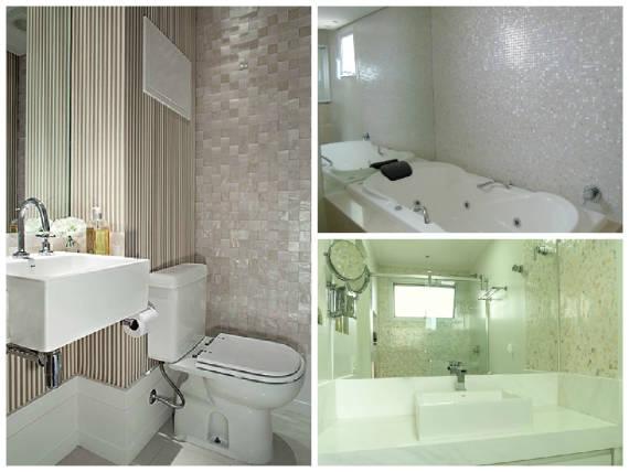 BANHEIROS COM PASTILHAS 60 Modelos e Dicas -> Decoracao De Banheiro Com Pastilhas Bege