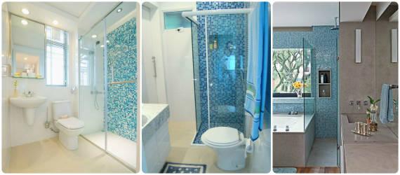 BANHEIROS COM PASTILHAS 60 Modelos e Dicas -> Banheiro Com Pastilha Na Parede Do Chuveiro