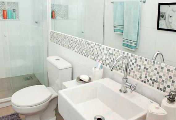 BANHEIROS COM PASTILHAS 60 Modelos e Dicas -> Banheiro Com Azulejo Imitando Pastilha