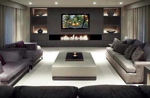 cor cinza na decoração da sala